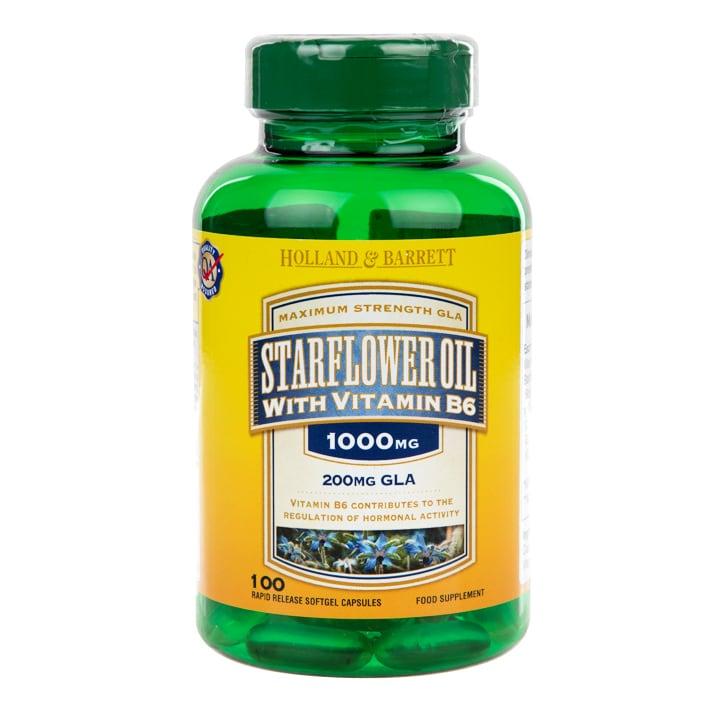 Holland & Barrett Starflower Oil 100 Capsules 1000mg with Vitamin B6