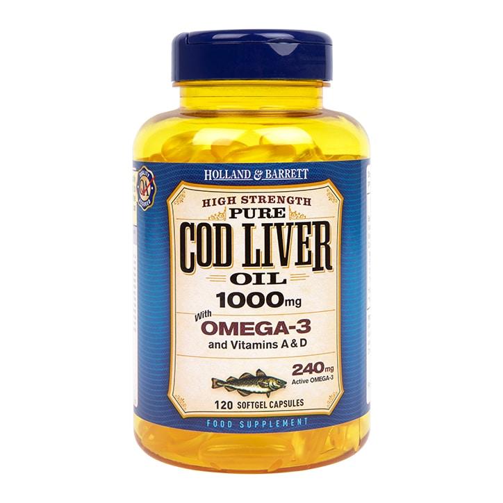 Holland & Barrett Cod Liver Oil 120 Capsules 1000mg