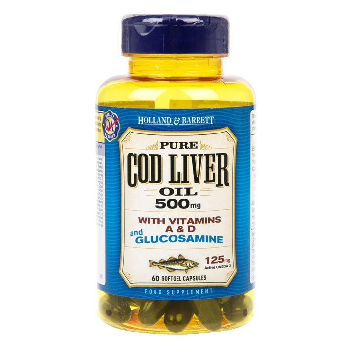Holland & Barrett Cod Liver Oil and Glucosamine 60 Capsules 500mg