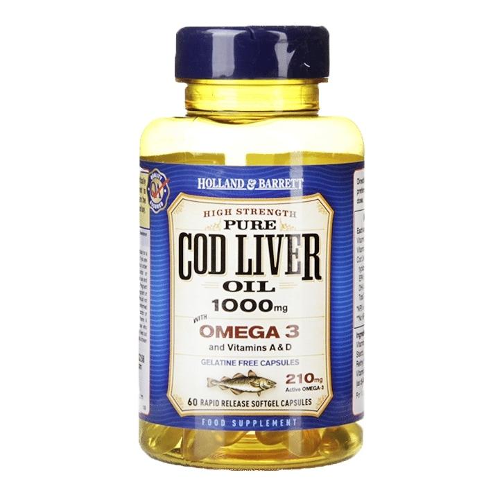 Holland & Barrett Cod Liver Oil Gelatine Free 60 Capsules 1000mg
