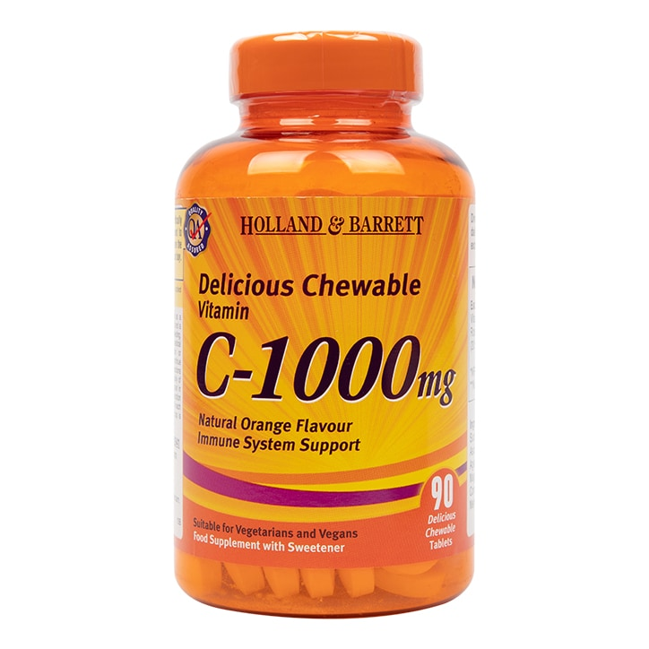 Holland & Barrett Chewable Vitamin C with Rose Hips 90 Tablets 1000mg