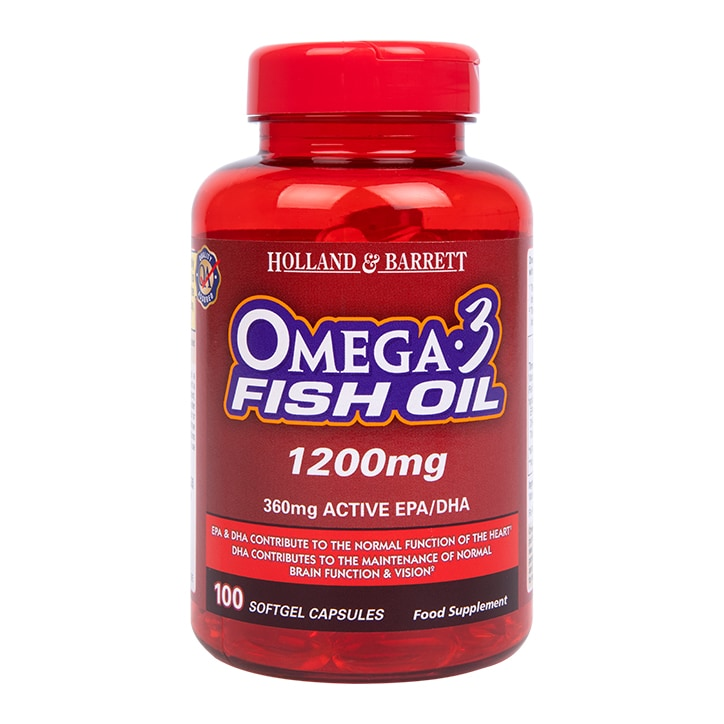 Holland & Barrett Omega 3 Fish Oil 100 Capsules 1200mg