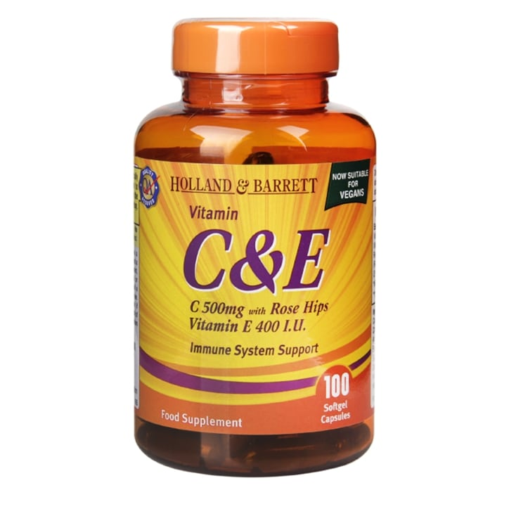 Holland & Barrett Vitamin C & E Softgel Capsules 500mg