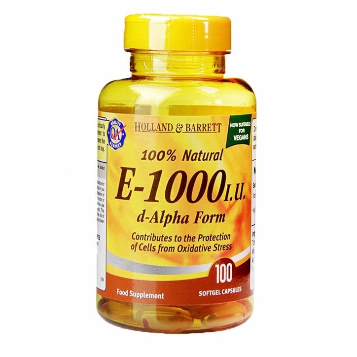 Holland & Barrett Vitamin E 1000iu 100 Softgel Capsules