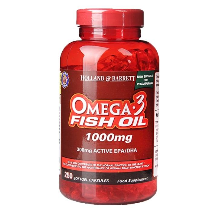Holland & Barrett Omega 3 Fish Oil 1000mg 250 Softgel Capsules