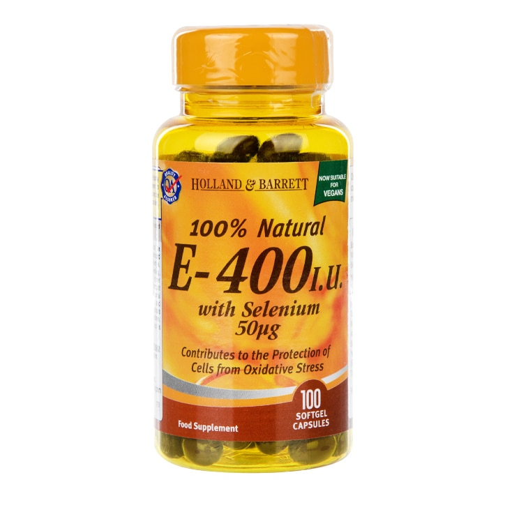 Holland & Barrett Natural Vitamin E with Selenium 400iu 100 Capsules