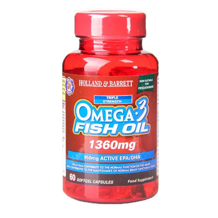 Holland & Barrett Omega 3 Triple Strength Fish Oil Capsules 1360mg
