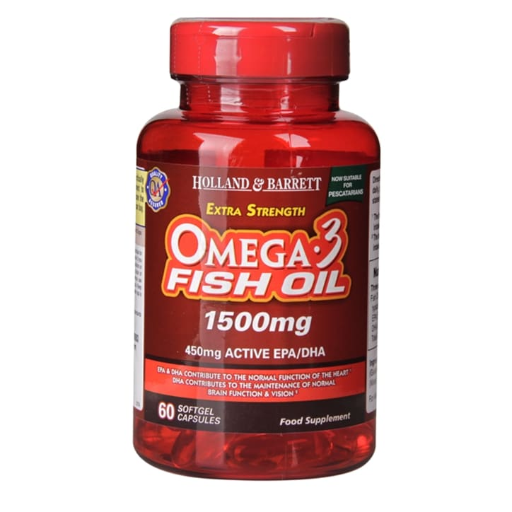 Holland & Barrett Extra Strength Omega 3 Fish Oil 1500mg 60 Softgel Capsules