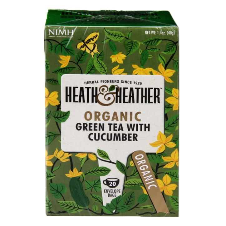 Heath & Heather Organic Green Tea with Cucumber 20 Tea Bags