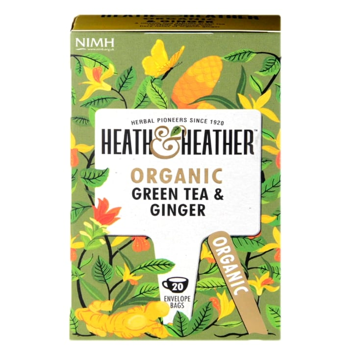 Heath & Heather Organic Green Tea with Ginger 20 Tea Bags