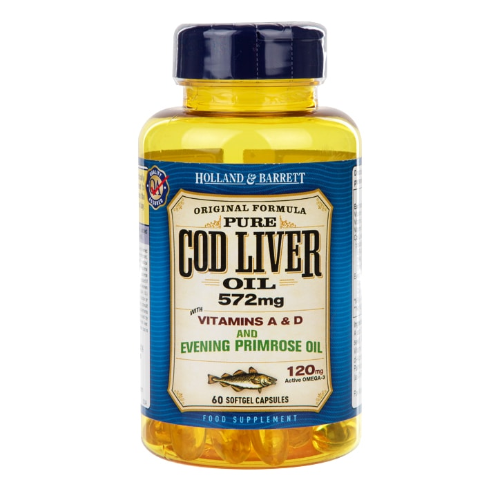 Holland & Barrett Cod Liver Oil with Evening Primrose Capsules 500mg