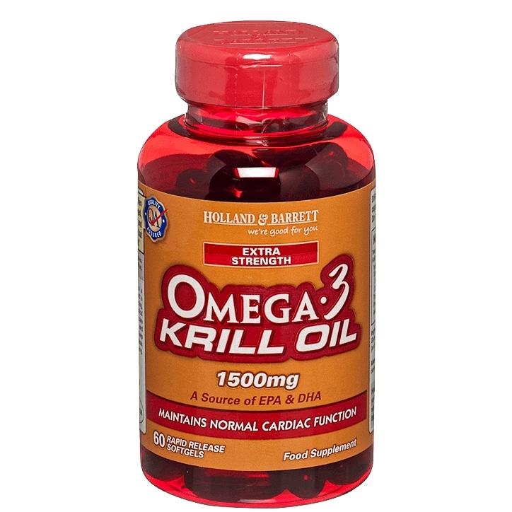 Holland & Barrett Extra Strength Omega 3 Krill Oil Softgel 60 Capsules 1500mg