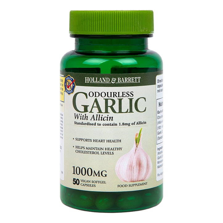 Holland & Barrett Odourless Garlic Vegan With Allicin 1000mg 50 Capsules