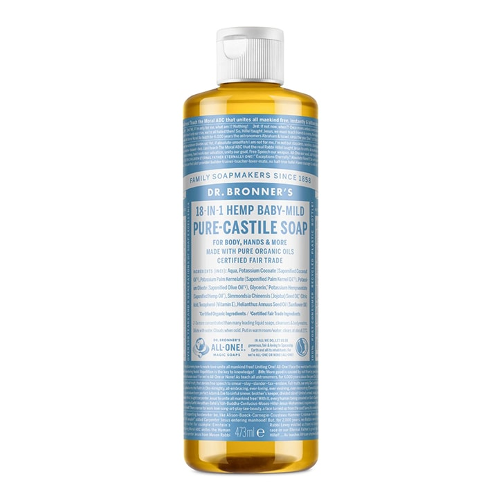 Dr Bronner's Baby Unscented Pure-Castile Liquid Soap 473ml