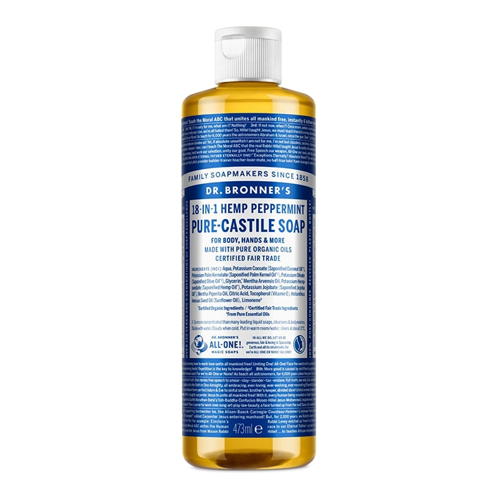 Dr Bronner's Peppermint Pure-Castile Liquid Soap 473ml