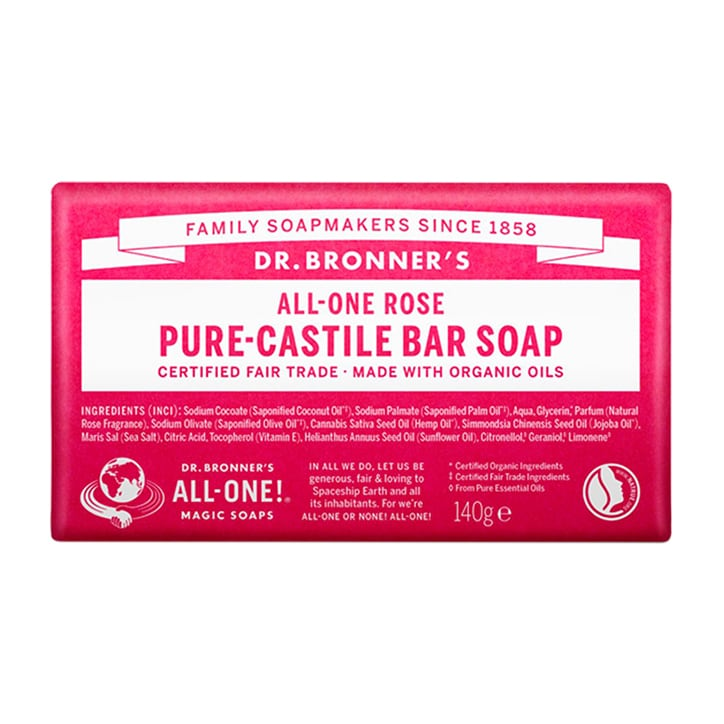 Dr Bronner's - All-One Rose Pure-Castile Bar Soap 140g