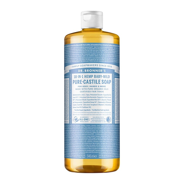 Dr Bronner's Baby Unscented Pure-Castile Liquid Soap 946ml