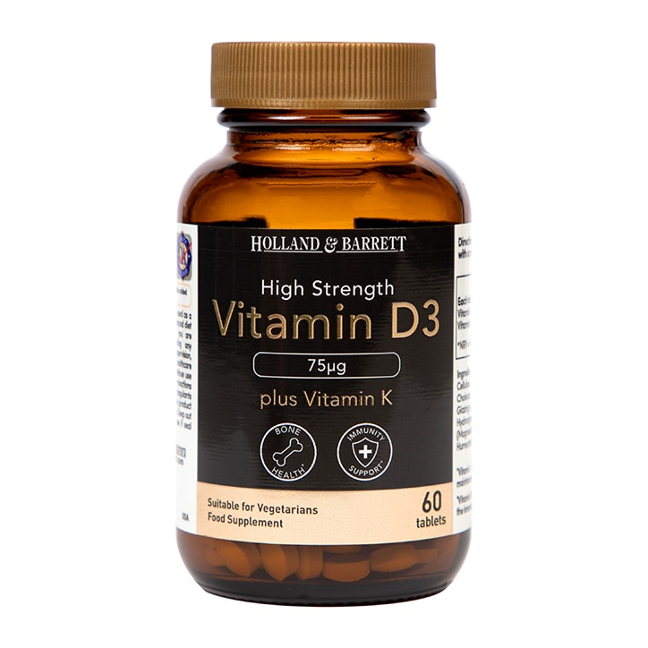 Holland & Barrett Vitamin D3 75ug plus 100ug K2 Tablets