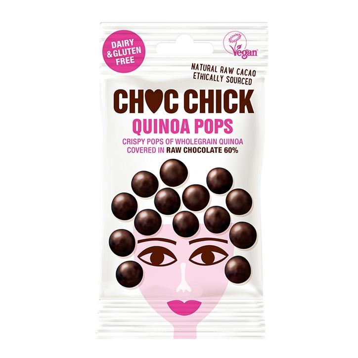 Choc Chick Wholegrain Quinoa Pops In Organic Raw Choc 60% 30g