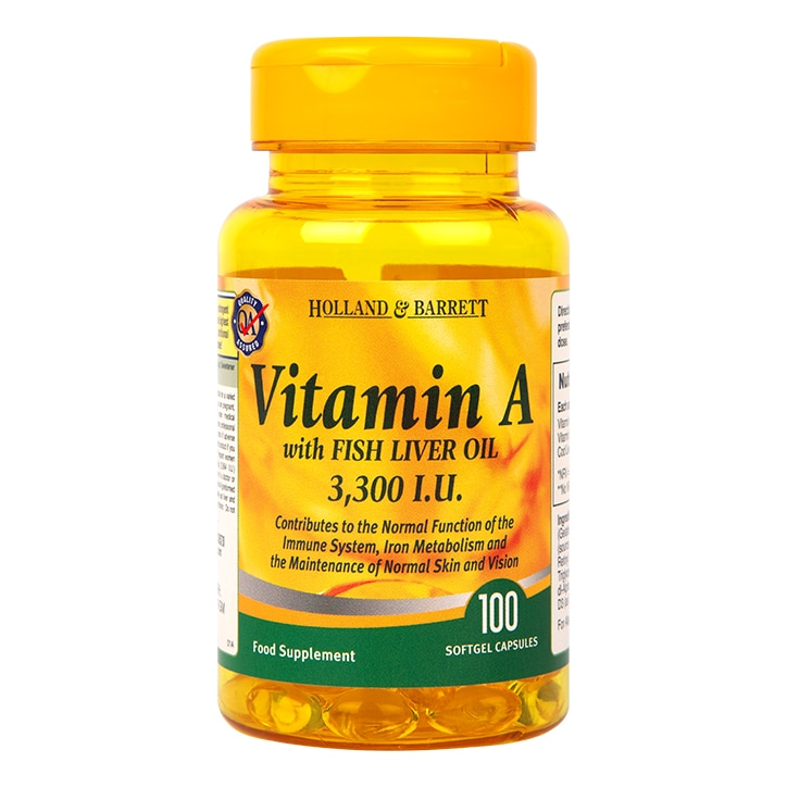 Holland & Barrett Vitamin A 3300 I.U Softgel 100 Softgel Capsules