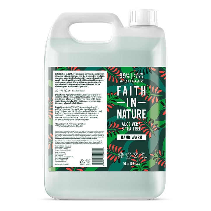 Faith In Nature Aloe Vera & Tea Tree Hand Wash 5 Litre