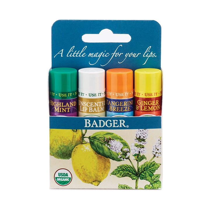 Badger Classic Lip Balm 4 pack - Blue 17g