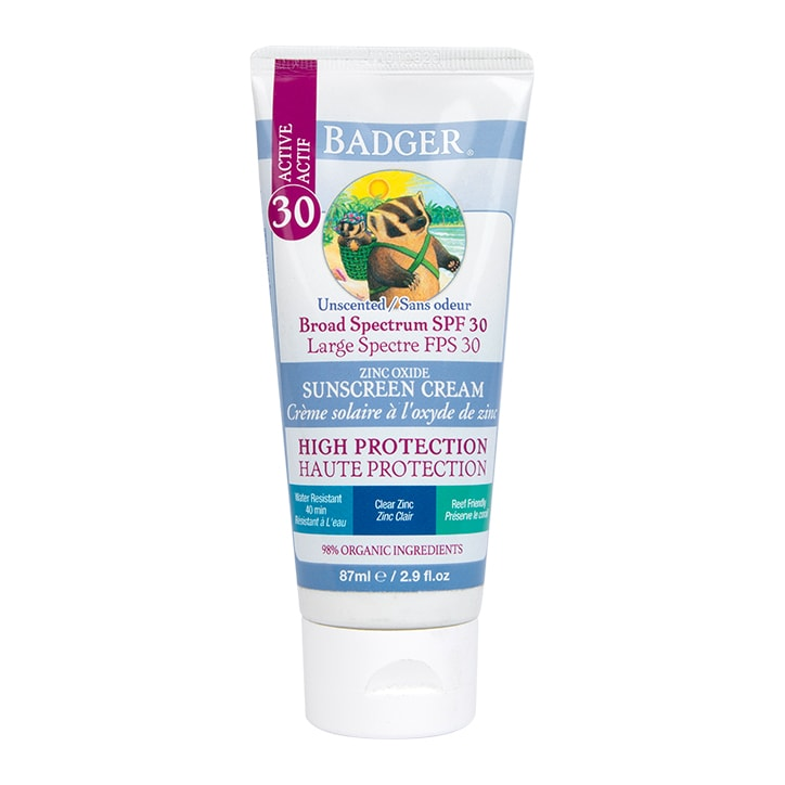 Badger Unscented SPF30 Clear Zinc Sunscreen