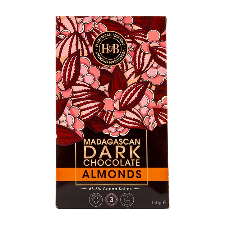Holland & Barrett Madagascan Dark Chocolate Almonds 150g