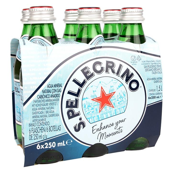 San Pellegrino Sparkling Natural Mineral Water Glass 6x250ml