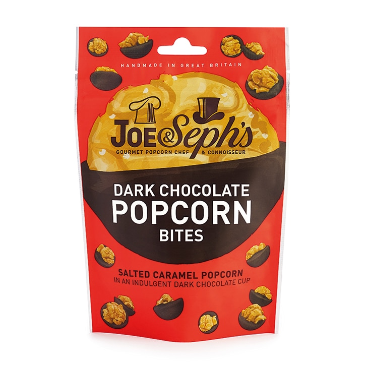 Joe & Sephs Salted Caramel Dark Chocolate Popcorn Bites 63g