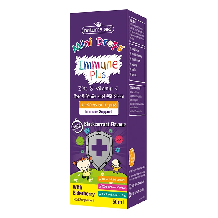 Natures Aid Mini Drops Children's Immune Plus Blackcurrant Flavour Supplement