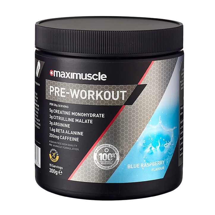 MaxiMuscle Pre Workout Blue Raspberry 300g