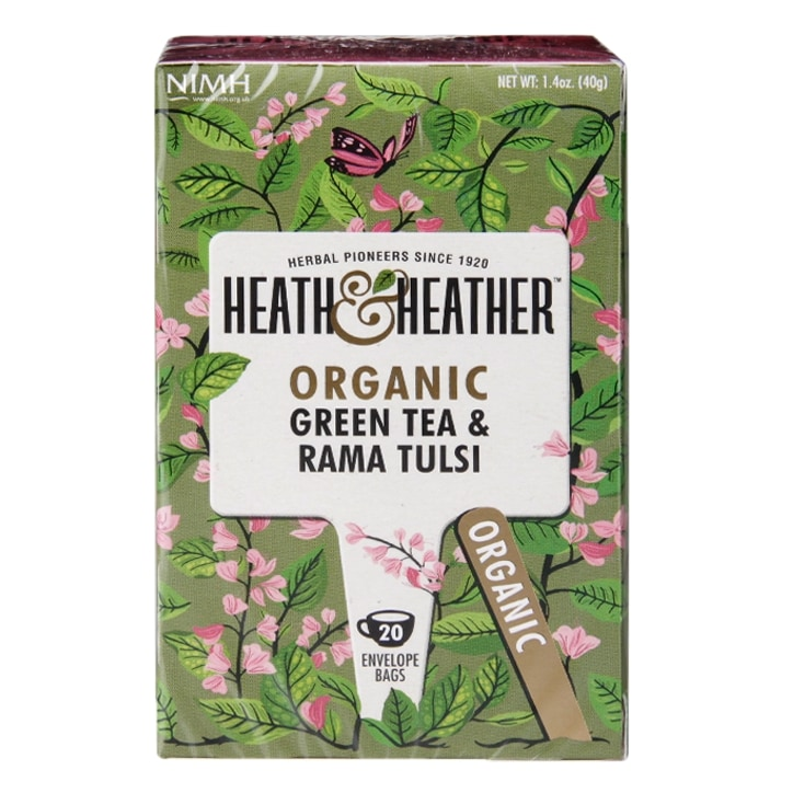 Heath & Heather Organic Green Tea & Tulsi 20 Tea Bags
