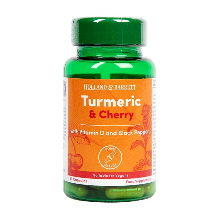 Holland & Barrett Turmeric and Cherry with Vitamin D & Black Pepper 30 Capsules
