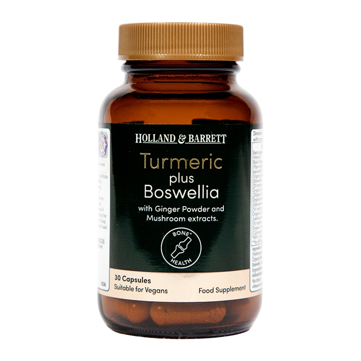 Holland & Barrett Organic Turmeric and Boswelia with Mushrooms and Ginger 30 Capsules