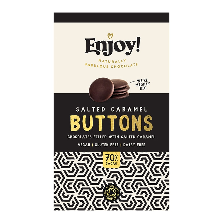 Enjoy Raw Choc Salted Caramel Filled Chocolate Buttons 96g
