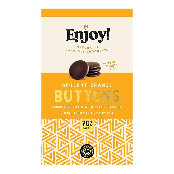 Enjoy Raw Choc Orange Caramel Filled Chocolate Buttons 96g