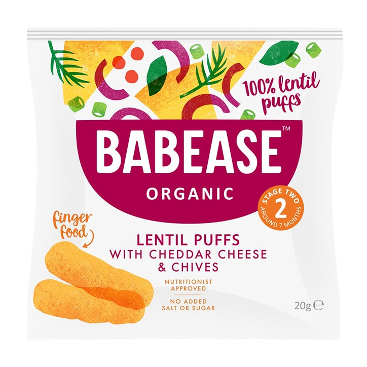 Babease Organic Lentil Puffs Cheddar & Chive 20g