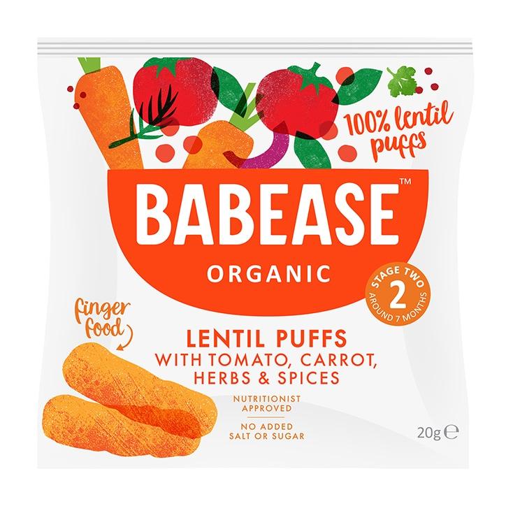 Babease Organic Lentil Puffs Tomato, Carrot & Herb 20g