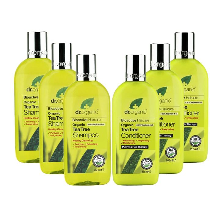Dr Organic Tea Tree Shampoo & Conditioner Bundle 6 x 265ml