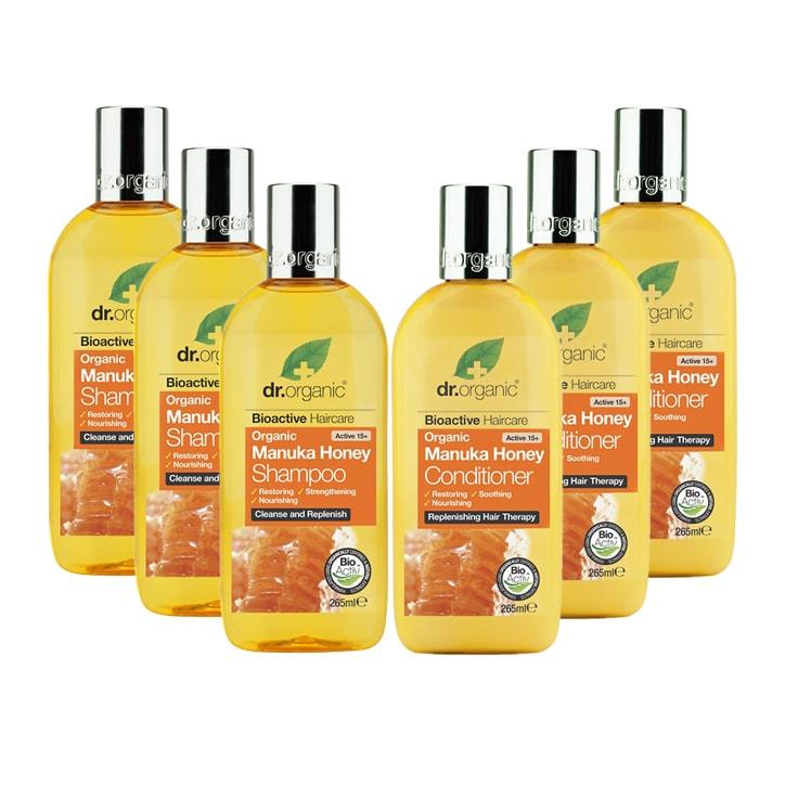 Dr Organic Manuka Honey Shampoo & Conditioner Bundle 6 x 265ml