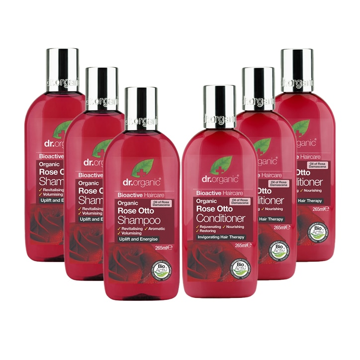 Dr Organic Rose Otto Shampoo & Conditioner Bundle 6 x 265ml