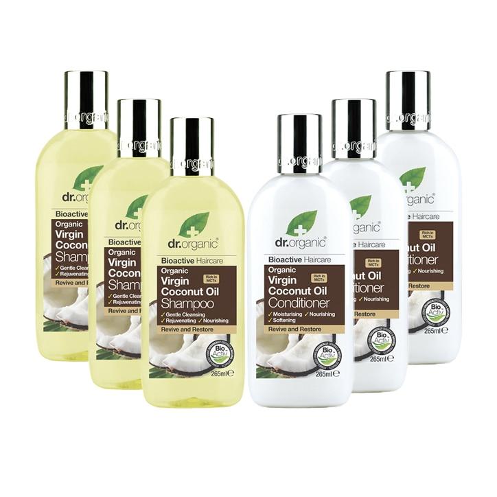Dr Organic Virgin Coconut Oil Shampoo & Conditioner Bundle 6 x 265ml