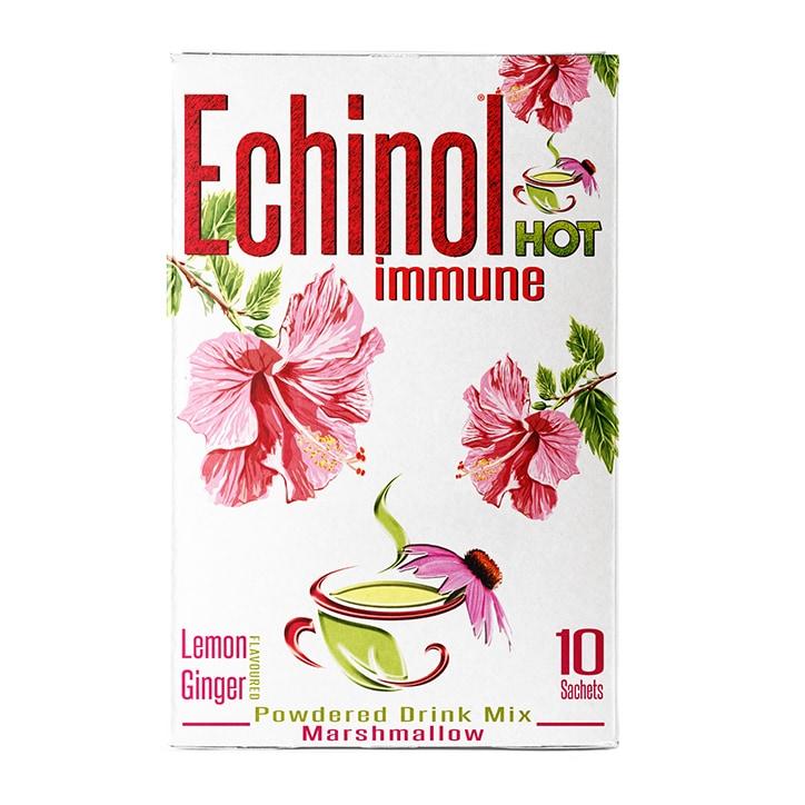Echinol Hot Immune Powdered Drink Mix Marshmallow Lemon & Ginger Flavoured 10 Sachets