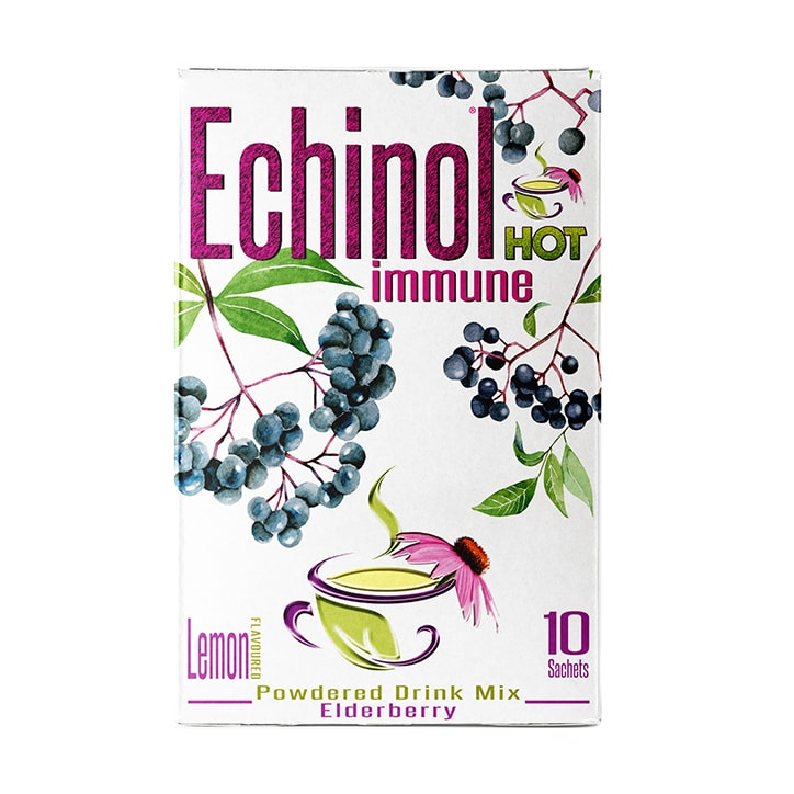 Echinol Hot Immune Powdered Drink Mix Elderberry Lemon Flavoured 10 Sachets