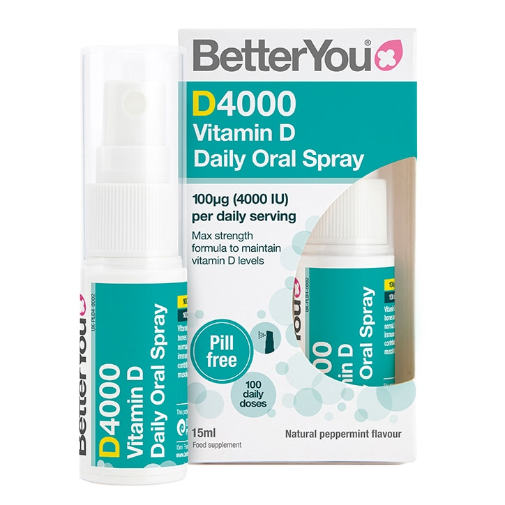 Betteryou Dlux 4000 Vitamin D Daily Oral Spray Peppermint Flavour 15ml