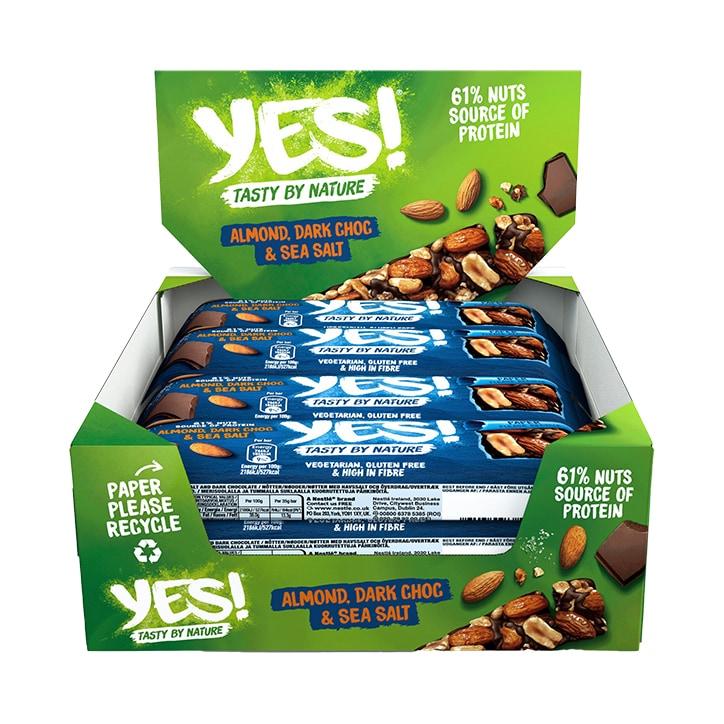 YES! Dark Chocolate, Sea Salt & Almond Nut Snack Bar 12 x 35g