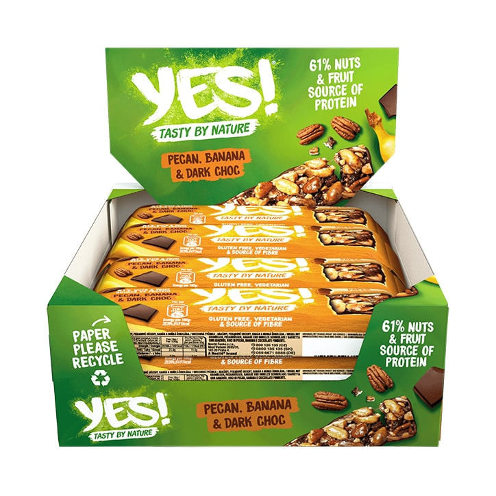 YES! Dark Chocolate, Banana & Pecan Fruit & Nut Snack Bar 12 x 35g