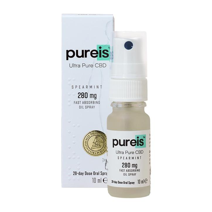Pureis® Ultra Pure CBD Fast Absorbing Oil 280mg Spearmint Oral Spray 10ml