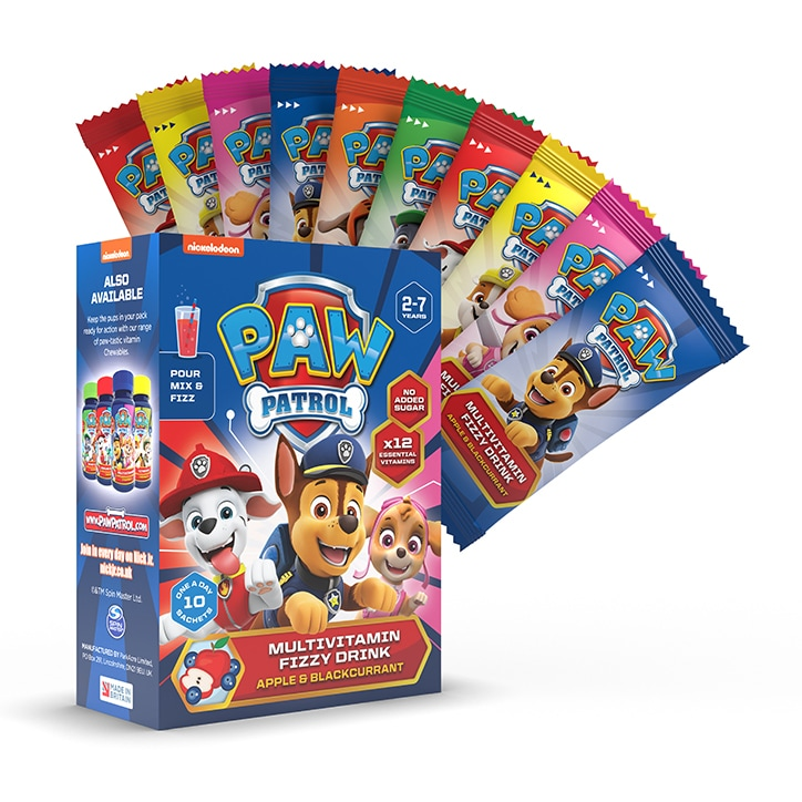 PAW Patrol Nickelodeon Multivitamin Fizzy Drink Apple & Blackcurrant 10 Sachets